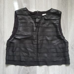 Alice + Olivia Sample Leather Tiered Crop Top OOAK